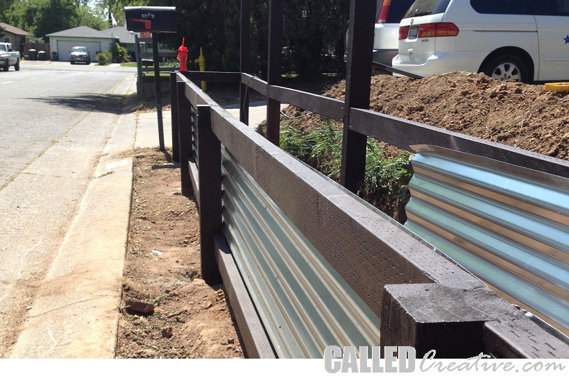 Retaining wall ideas corrugated steel and timber - Creating A Modern Wood Amp Metal Retaining Wall Amp Fence